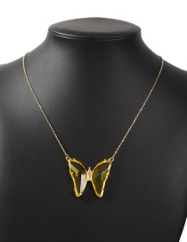 Fashion Yellow Alloy Diamond Butterfly Necklace (large)
