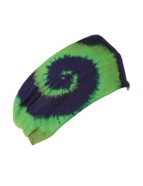Fashion Grass Green Spiral Printed Broad Edge Elastic Headband