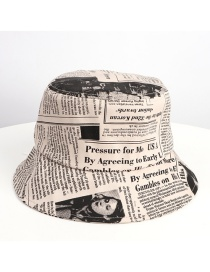 Fashion Beige Old Newspaper Pattern Printed Fisherman Hat