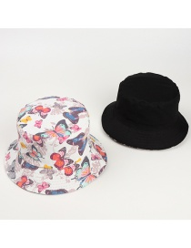 Fashion Color Mixing Double-sided Butterfly Print Canvas Fisherman Hat