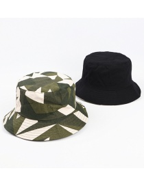 Fashion Army Green Double-sided Diamond Lattice Camouflage Sunscreen Foldable Fisherman Hat