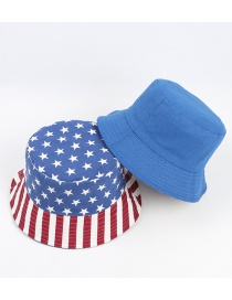 Fashion Blue Sun Protection Double-sided Wearing A National Flag Five-pointed Star Fisherman Hat