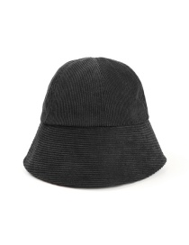 Fashion Black Corduroy Solid Color Stitching Fisherman Hat