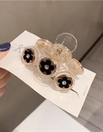 Fashion 3 Small Black Flowers Resin Pearl Diamond-studded Bow Flower Geometric Shape Catch