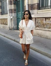 Fashion Beige Pleated Deep V Leaky Back Jumpsuit