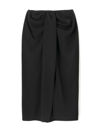 Fashion Black Pleated Solid Color Cage Sand Skirt