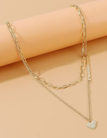 Fashion Golden Peach Heart Embossed Alloy Double Necklace