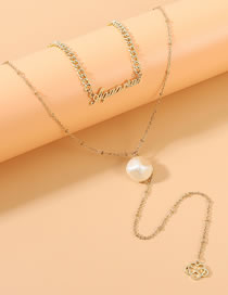 Fashion Golden Letter Pearl Love Hollow Alloy Multilayer Necklace