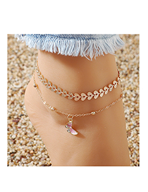 Fashion Golden Dripping Butterfly Diamond Heart Alloy Anklet Set