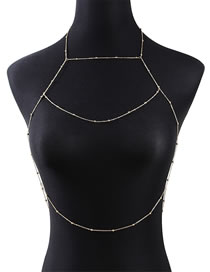 Fashion Golden Round Bead Chain Alloy Hollow Geometric Body Chain
