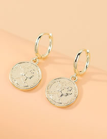 Fashion Gold Color Roman Head Round Alloy Earrings