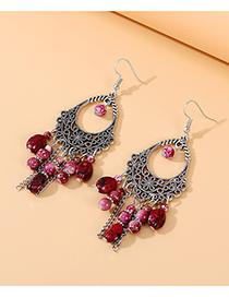 Fashion Red Resin Drop-shaped Alloy Tassel Earrings