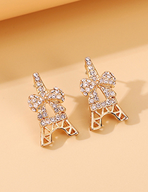 Fashion Golden Small Bow Crystal Alloy Hollow Earrings