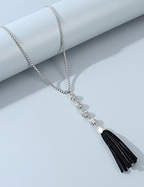Fashion Black Tassel Round Bead Alloy Sweater Chain