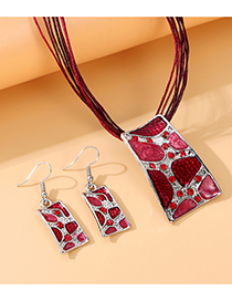 Fashion Red Painted Oil Diamond Rectangle Alloy Necklace And Earring Set