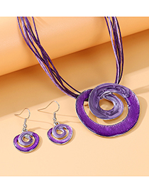Fashion Purple Painting Oil Swirl Alloy Hollow Necklace Earrings Set