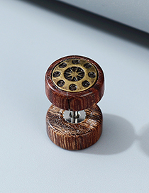 Fashion Brown Wooden Alloy Round Unilateral Mens Earrings