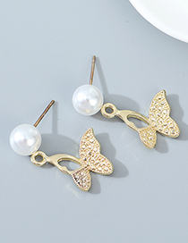 Fashion Golden Butterfly Pearl And Diamond Alloy Hollow Earrings