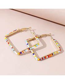 Fashion Golden Hollow Rice Bead Beaded Square Earrings