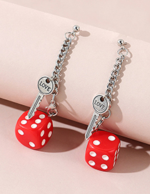 Fashion Red Key Dice Resin Alloy Earrings