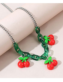 Fashion Red Fruit Resin Acrylic Alloy Necklace