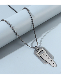 Fashion Silver Small Saw Geometric Bead Chain Mens Necklace