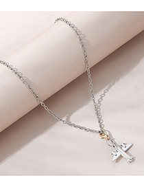 Fashion Silver Small Airplane Alloy Necklace