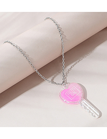 Fashion Pink Key Resin Letter Alloy Necklace