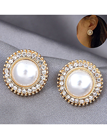 Fashion Gold Color Diamond And Pearl Round Alloy Earrings