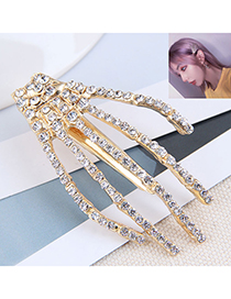 Fashion Gold Color Diamond Claw Alloy One Word Clip