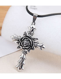Fashion Silver Color Cross Flower Necklace