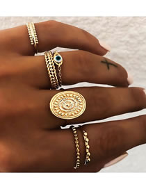 Fashion Gold Color Color Eye Geometry Alloy Ring Set