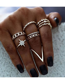 Fashion Gold Color Color Diamond-encrusted Star Chain Alloy Hollow Ring Set