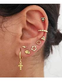 Fashion Gold Color Color Lightning Cross Geometric Alloy Earrings Set