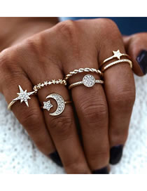 Fashion Gold Color Color Diamond Star Moon Alloy Ring Set