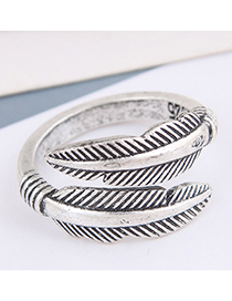 Fashion Silver Color Color Leaf Embossed Alloy Ring