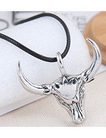 Fashion Silver Color Color Bull Head Pendant Alloy Necklace