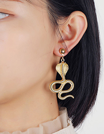 Fashion Gold Color Serpentine Alloy Hollow Earrings