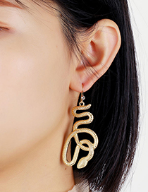 Fashion Gold Color Snake-shaped Winding Alloy Hollow Earrings