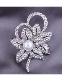 Fashion Silver Color Pearl Alloy Hollow Brooch With Diamond Petals