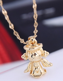 Fashion Golden Angel Doll Alloy Necklace