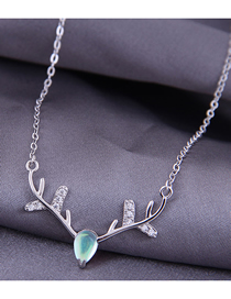 Fashion Silver Diamond Christmas Antlers Alloy Necklace