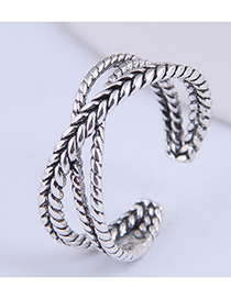 Fashion Silver Color Weaving Cross Alloy Open Ring