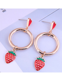 Fashion Red Strawberry Oil Drop Round Alloy Earrings
