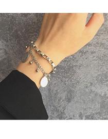 Fashion Silver Chain Virgin Geometric Stainless Steel Pendant Double Bracelet