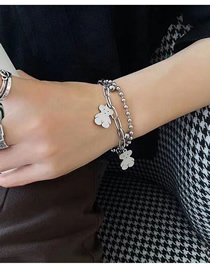 Fashion Silver Chain Teddy Bear Hollow Stainless Steel Double Bracelet