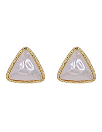 Fashion Gold Color Alloy Pearl Triangle Stud Earrings