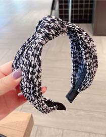 Fashion Knotted Black Houndstooth Bow Knotted Wide-brim Hair Band