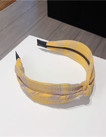 Fashion Yellow Checked Wide-brimmed Headband With Twist In The Middle