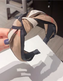 Fashion Black Side Knotted Lattice Knotted Bowknot Wide-brimmed Fabric Hair Band